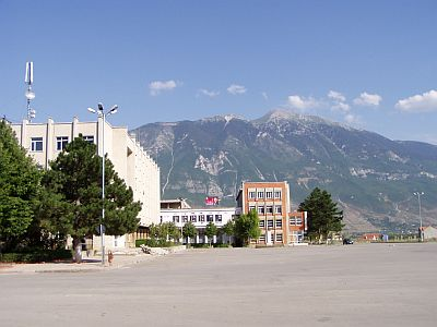 Kukes: The vibrant main square in the centre...