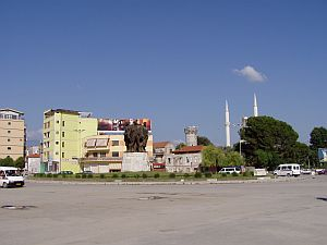 Shkoder: Central Square with Mosque and clock tower