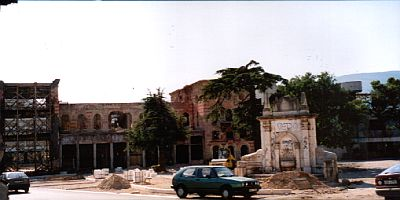 One of the destroyed squares in the centre