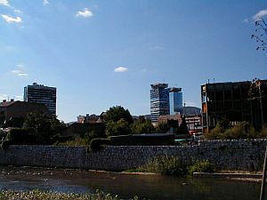 The Twin Towers of Sarajevo during the reconstruction