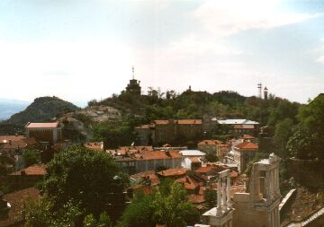 Ancient Roman Ruins and one of the Syenite hills of Plovdiv
