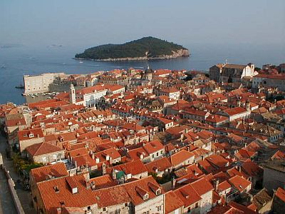 Dubrovnik: The old town and Lokrum island in the background