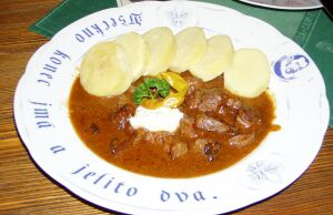 Czech style beef stew and potato dumplings