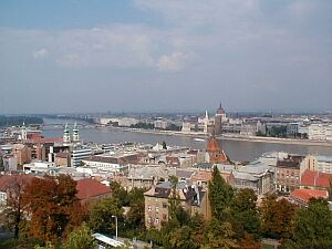 Budapest: A view from Buda over flat Pest
