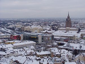 The modern shopping centre and the southern part of Riga