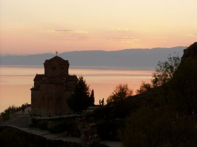 Kaneo Church and Lake Ohrid at dusk