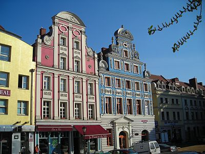 Szczecin: Recently rebuilt old buildings near the Old Town Hall