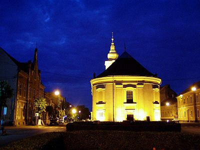 Satu Mare: The Hungarian Reformed Church at night