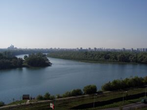 The Danube (right), the Sava (left) and Novi-Beograd
