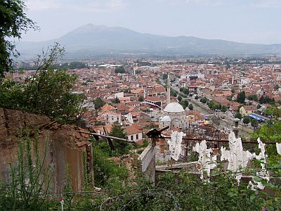View on the centre of Prizren from the fortress