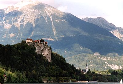 Bled Castle and the Karavanke range