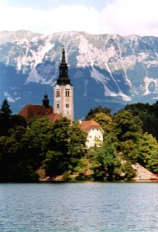 The islet and church in the middle of the lake