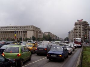 Pure traffic chaos in Bucharest