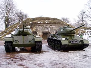 Old Soviet tank inside the fortress
