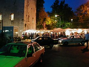 Night bazaar next to Diocletian's palace