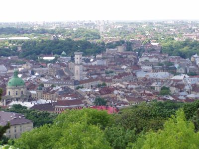 The old city of L'viv seen from above